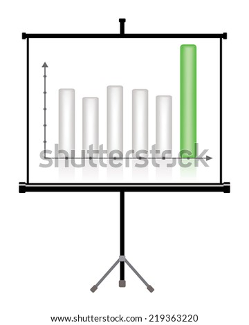projector screen with business chart  - stock photo