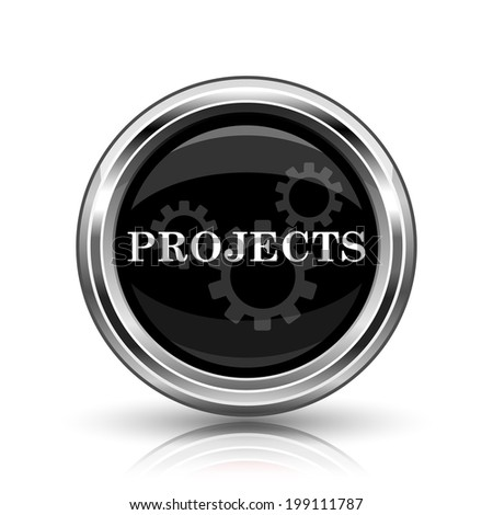 Projects icon. Metallic internet button on white background.