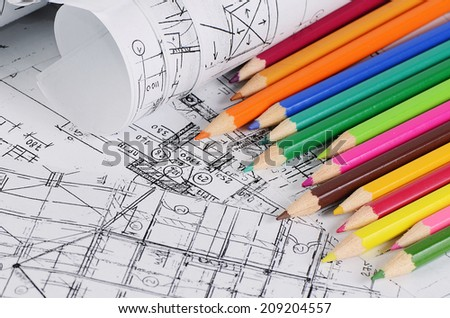 Projects of houses with a color pencil