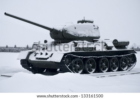 PROKHOROVKA, RUSSIA-JAN 30: Russian old tanks in Prokhorovka on January 30, 2013. This is place  of largest tank battle in the history of WW II.