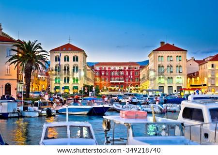 Prokurative square in Split evening colorful view, Dalmatia, Croatia - stock photo