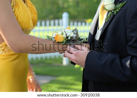 prom corsage - stock photo