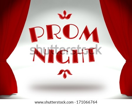 Prom night on theater stage with red curtains, invitation - stock photo