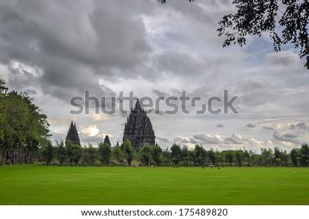 Prombanan complex in Yogjakarta in Java, indonesia - stock photo
