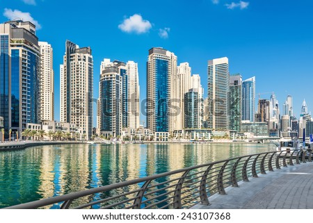 Promenade along Dubai Marina, United Arab Emirates, Middle East - stock photo