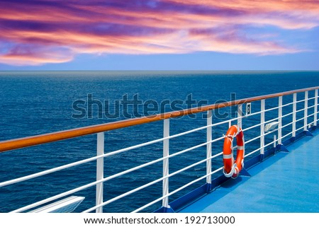 Promenade deck on a cruise ship - stock photo