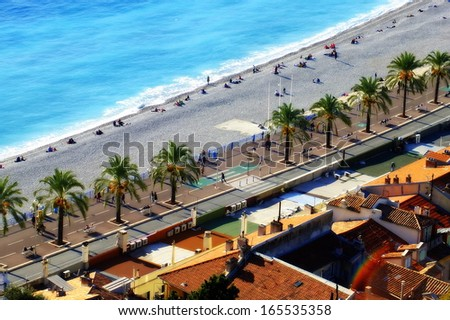 Promenade des Anglais in Nice - French Riviera, France  - stock photo