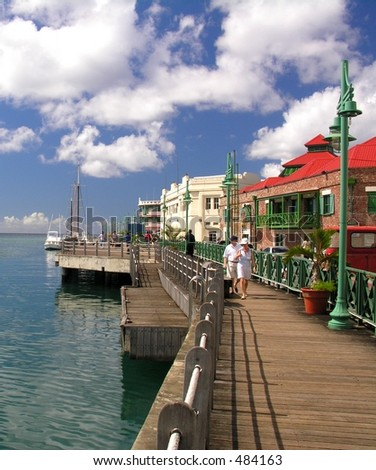 Promenade in Bridgetown / Barbados - stock photo
