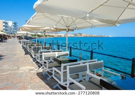 Promenade in Ierapetra, most southern city of Europe. Lasithi county, Crete, Greece - stock photo