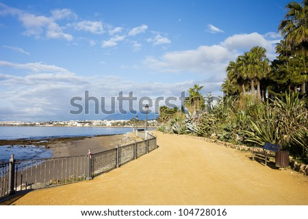 Promenade in Marbella along the Mediterranean Sea in Andalucia region, southern Spain.