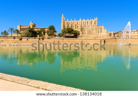 Promenade La Seu Cathedral lagoon lake, Palma de Mallorca, Spain - stock photo