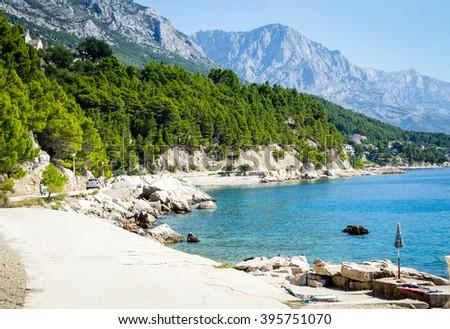Promenade of Brela at Makarska Riviera,adriatic Sea,Dalmatia,Croatia - stock photo