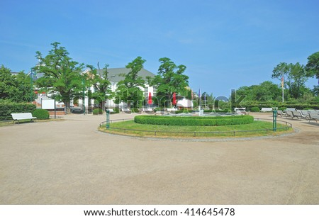 Promenade of Heringsdorf on Usedom Island at baltic Sea in Mecklenburg Western Pomerania,Germany - stock photo