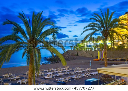 Promenade to the beach in Taurito at dusk, Gran Canaria island in Spain