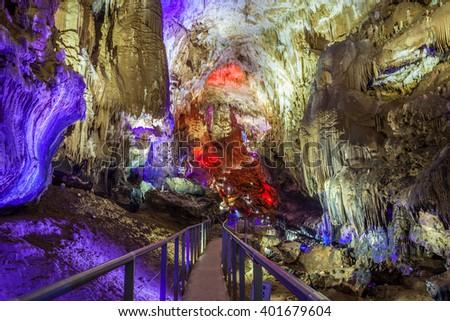 Prometheus Cave at Tskaltubo, the Imereti region of Georgia - stock photo