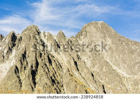 Prominent western rock wall in the Tatras in Slovakia, is a challenge for climbers and mountaineers