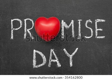promise day phrase handwritten on blackboard with heart symbol instead O