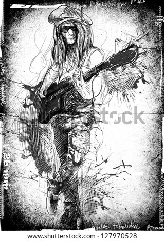 Promising guitarist - young rocker. /// A hand drawn illustration of an excellent guitar player. /// Outlines and grunge spots in shades of gray and black on black and white dirty background. - stock photo