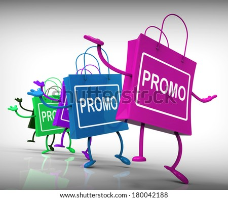 Promo Bags Representing Promotions, Specials, and Advertisements - stock photo