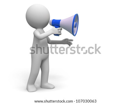 Promotion / A people in using the megaphone