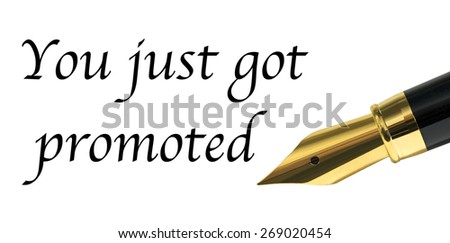 promotion announcement with an isolated fountain pen over white - stock photo