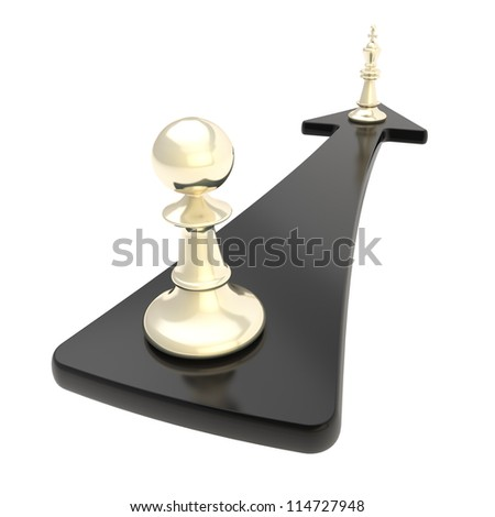 Promotion conception: chess pawn turns into the king over the black arrow isolated on white background - stock photo