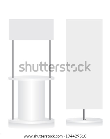 Promotion counter and flag illustration - stock photo