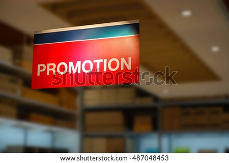 Promotion sign in shopping center
