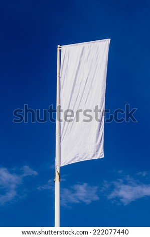 Promotional flag in white over the sky - stock photo
