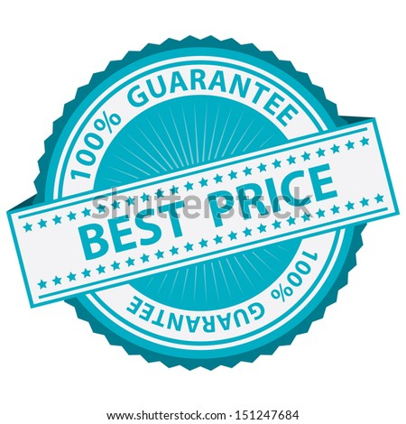 Promotional Sale Tag, Sticker or Badge, Present By Blue Best Price Label With 100 Percent Guarantee Text Around Isolated on White Background  - stock photo