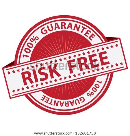 Promotional Sale Tag, Sticker or Badge, Present By Red Risk Free Label With 100 Percent Guarantee Text Around Isolated on White Background  - stock photo