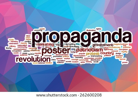 Propaganda word cloud concept with abstract background - stock photo