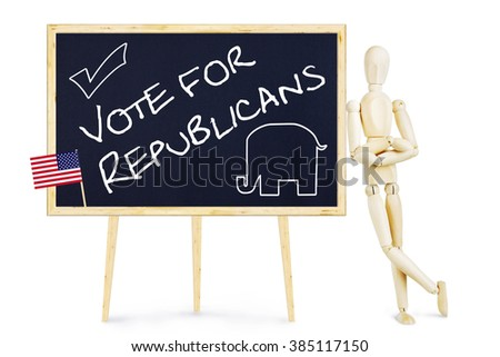 Propagandist encourages to vote for Republicans in US elections. Abstract image with a wooden puppet - stock photo