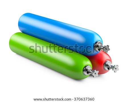 Propane cylinders with compressed gas isolated on a white background - stock photo
