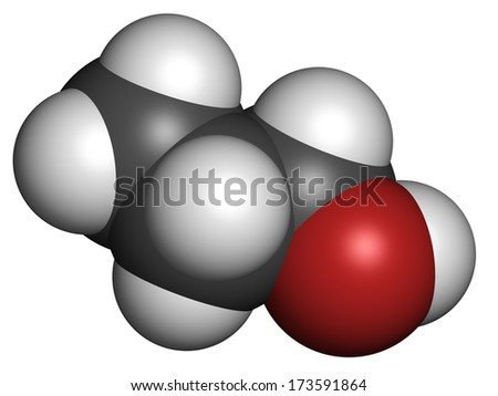 Propanol (n-propanol) solvent molecule. Atoms are represented as spheres with conventional color coding: hydrogen (white), carbon (grey), oxygen (red).