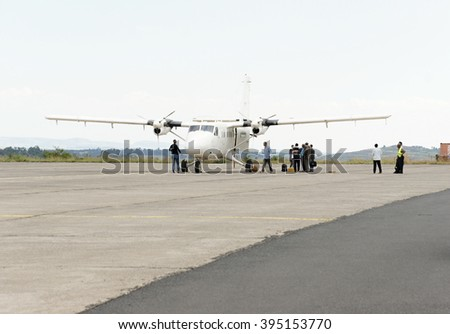 Propeller plane on Gondar airport, Ethiopia - stock photo