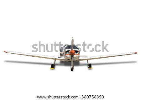 Propeller plane on white. - stock photo