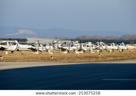Propeller Planes on a Airport - stock photo