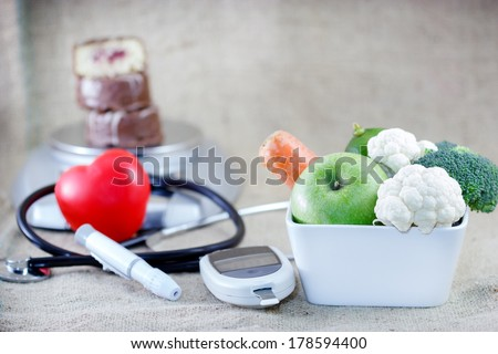 Proper and balanced diet to avoid diabetes - stock photo