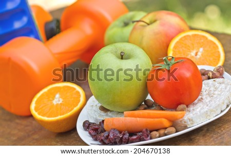 Proper nutrition and physical activity to healthy life - stock photo