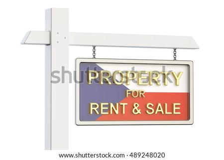 Property for sale and rent in Czech Republic concept. Real Estate Sign, 3D rendering isolated on white background