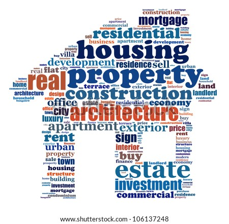 Property info-text graphics arrangement composed in house shape concept (word clouds) - stock photo