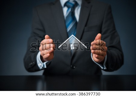 Property insurance and security concept. Protecting gesture of man and symbol of house, central composition.