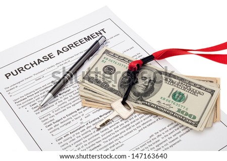 Property investment with purchase agreement - stock photo