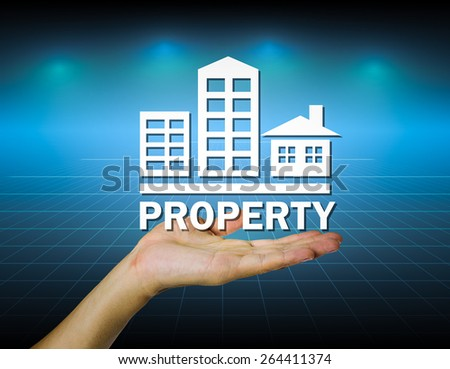 Property mark on hand with dark background. - stock photo