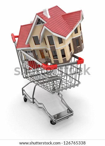 Property market. House in shopping cart. 3d - stock photo