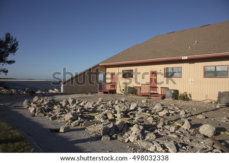 Property near Matanzas Inlet Florida damaged by Hurricane Matthew October 7, 2016