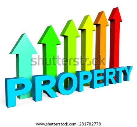 Property Value Increasing Indicating Real Estate Agent And On The Market - stock photo