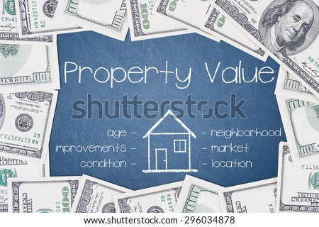 PROPERTY VALUE - text written on a blue chalkboard with frame made of 100 US dollars.  - stock photo