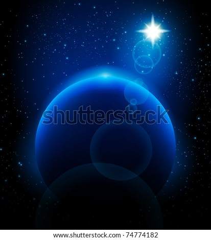 Prophecy star above blue planet background